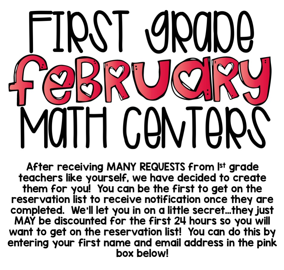 1st Grade Math Centers Reservation List