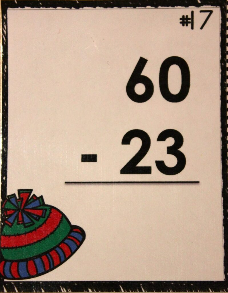 http://www.teacherspayteachers.com/Product/Winter-Scoot-2-Digit-Subtraction-with-regrouping-1061214