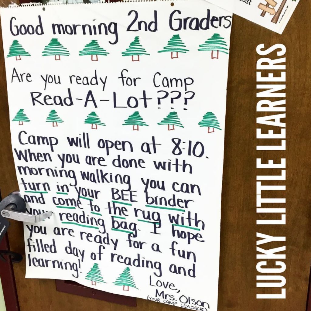 Camp Read-a-Lot poster that greets the students at the door in the morning.