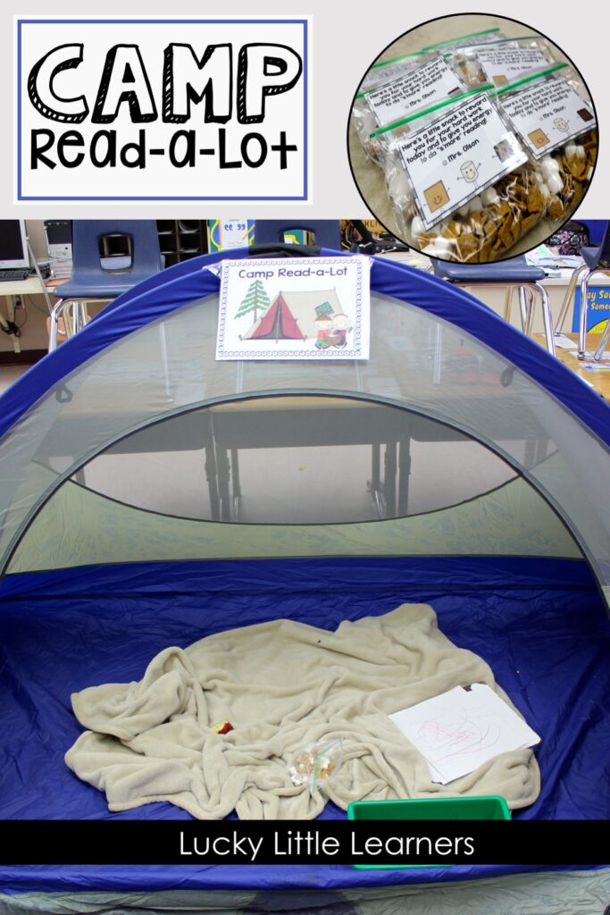 Hours of reading, camping themed stations, camping snack, and tons of fun! The kids LOVE Camp Read-a-Lot. We try to do this at the end of every grading period. The students are engaged in camping themed literacy activities all day!