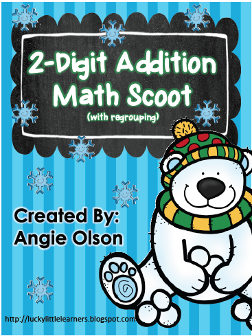 http://www.teacherspayteachers.com/Product/Winter-Scoot-2-Digit-Addition-with-regrouping-1042687