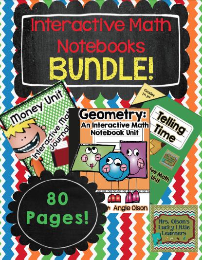 http://www.teacherspayteachers.com/Product/Interactive-Math-Notebooks-Bundle-Money-Geometry-Time-1184691