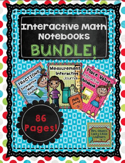 http://www.teacherspayteachers.com/Product/Interactive-Math-Notebooks-Bundle-2-Fractions-Measurement-and-Place-Value-1269268