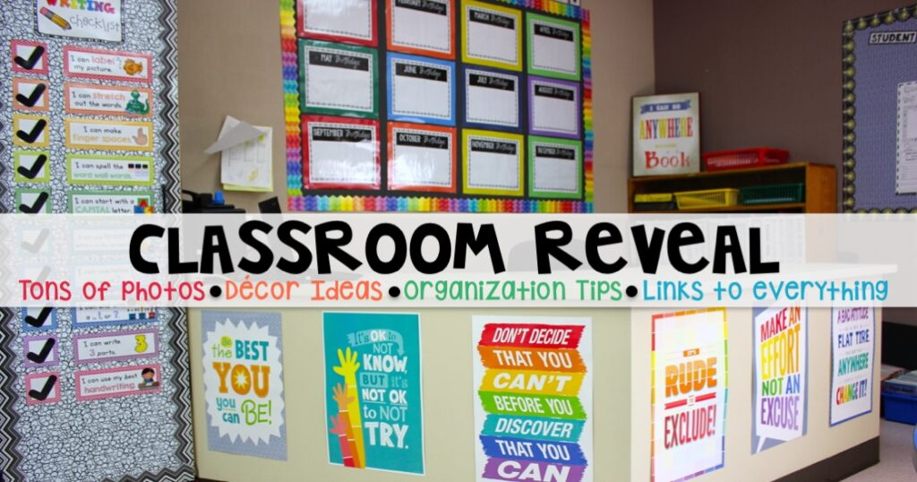 This classroom is a MUST SEE! She has tons of photos that shows how she organizes, stores, decorates her classroom. She includes links to everything too!