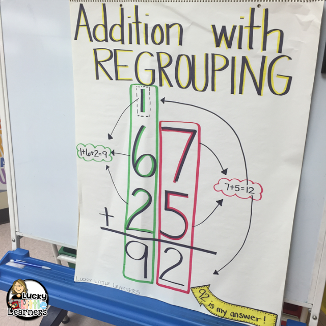 Addition with Regrouping can be tricky to teach 2nd grade students so this post provides addition with regrouping strategies, worksheets & activities! There is also a free place value mat!