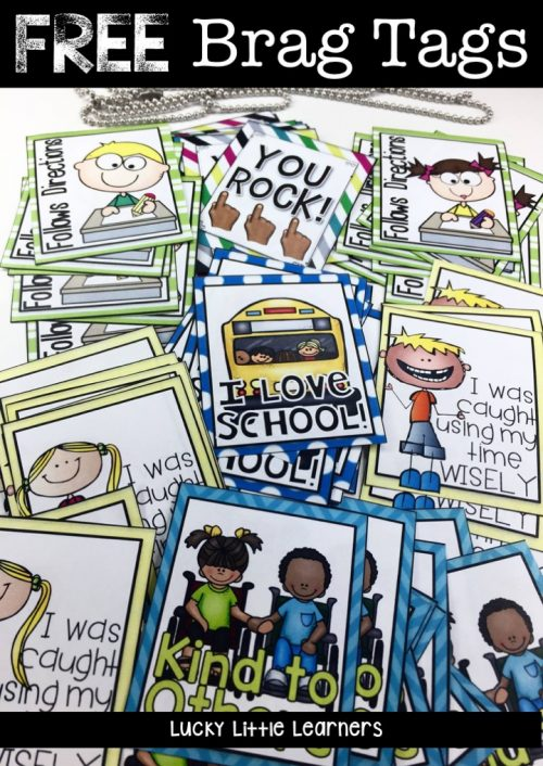 Implement brag tags in your classroom today with the help of this teacher! She shows exactly how to use brag tags with students. There are brag tag displays, brag tag storage ideas, brag tag necklaces, and brag tag freebies. A perfect classroom management system for recognizing positive behavior! #bragtags #classroommanagement #rewardsforkids #classroomorganization