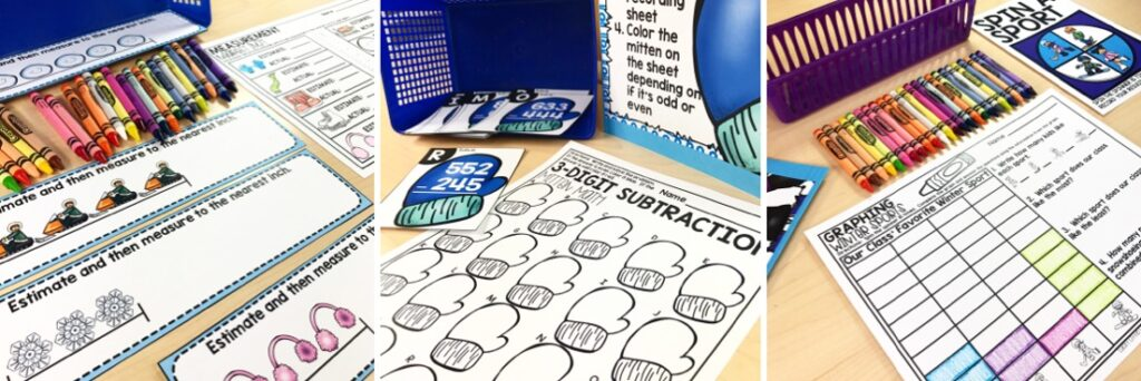 Warm up your students' math skills with these standards aligned centers that focus on place value, money, 3 digit addition and subtraction, graphing, and more!