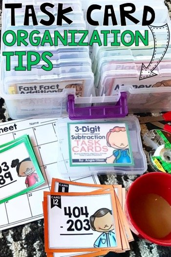 Task card organizing tips: Do you love using task cards in your classroom but need a better way to organize them? This post gives a bunch of task card storage ideas and tips. Task cards are great for early finishers. Grab your free task cards here too!