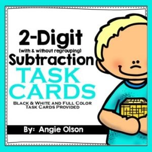 2-Digit Subtraction with and without Regrouping Task Cards-1