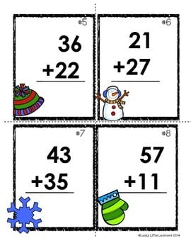 Winter Scoot: 2-Digit Addition (without regrouping) - Lucky Little ...