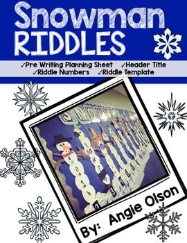 Snowman Riddles Craftivity Writing Templates