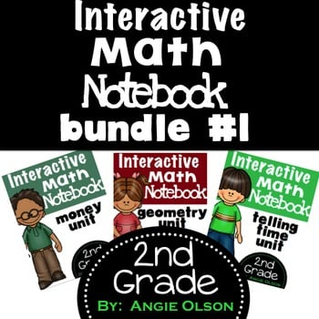 Telling Time, Money, & Geometry 2nd Grade Math Notebook Bundle-1