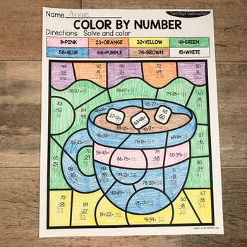 Winter 2-Digit Addition and Subtraction Color by Number No Prep Printables