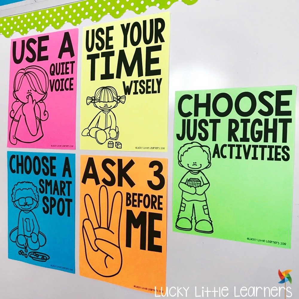 Clear and consistent rules are important to establish when launching math centers. The five rule posters are free and perfect for 1st grade and 2nd grade math centers. This post explains how to implement and practice these rules to run efficient and effective math centers.