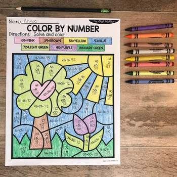 Spring 2-Digit Addition and Subtraction Color by Number No Prep Printables4