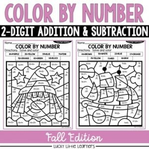 Fall 2-Digit Addition and Subtraction Color by Number No Prep Printables1