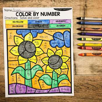 Fall 2-Digit Addition and Subtraction Color by Number No Prep Printables2