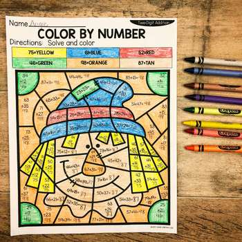 Fall 2-Digit Addition and Subtraction Color by Number No Prep Printables3