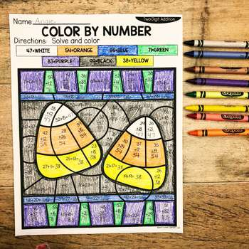 Fall 2-Digit Addition and Subtraction Color by Number No Prep Printables4