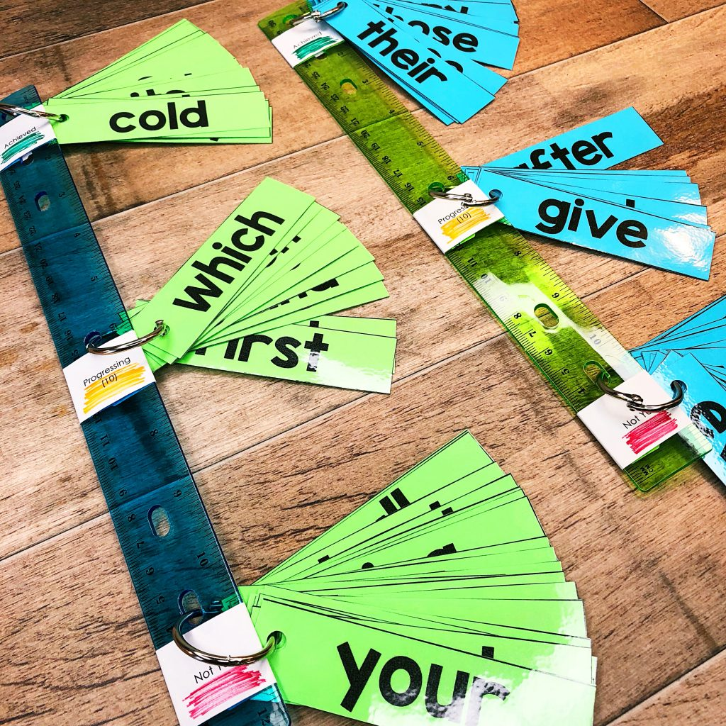 Sight Word Fluency Sticks are a powerful tool for you to use in your Kindergarten, 1st grade or 2nd grade classroom. I believe in this system because it is developmentally appropriate, research based, and meets the needs and ability levels of all the students in your classroom in a low stress and low maintenance way.  When students focus on 10 sight words at a time, this sets the child up for success. They are no longer overwhelmed with a pile of flashcards to practice.