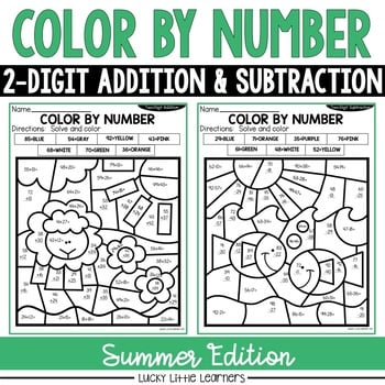 Summer 2-Digit Addition and Subtraction Color by Number No Prep Printables1
