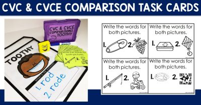 CVC & CVCE Comparisons Task Cards
