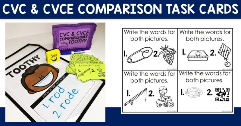 CVC & CVCE Comparisons Task Cards