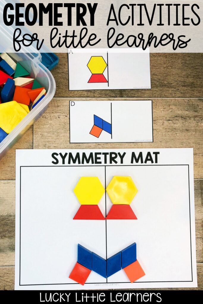 Teaching geometry and symmetry can be fun! Tons of ideas for geometry activities, geometry anchor charts, geometry games, and geometry freebies! Teach 2.G.A.1 , 2.G.A.2 and 2.G.A.3 with fun and hands-on activities. Resources and ideas for both 1st grade and 2nd grade classrooms! #2ndgrade #1stgrade #math #symmetry