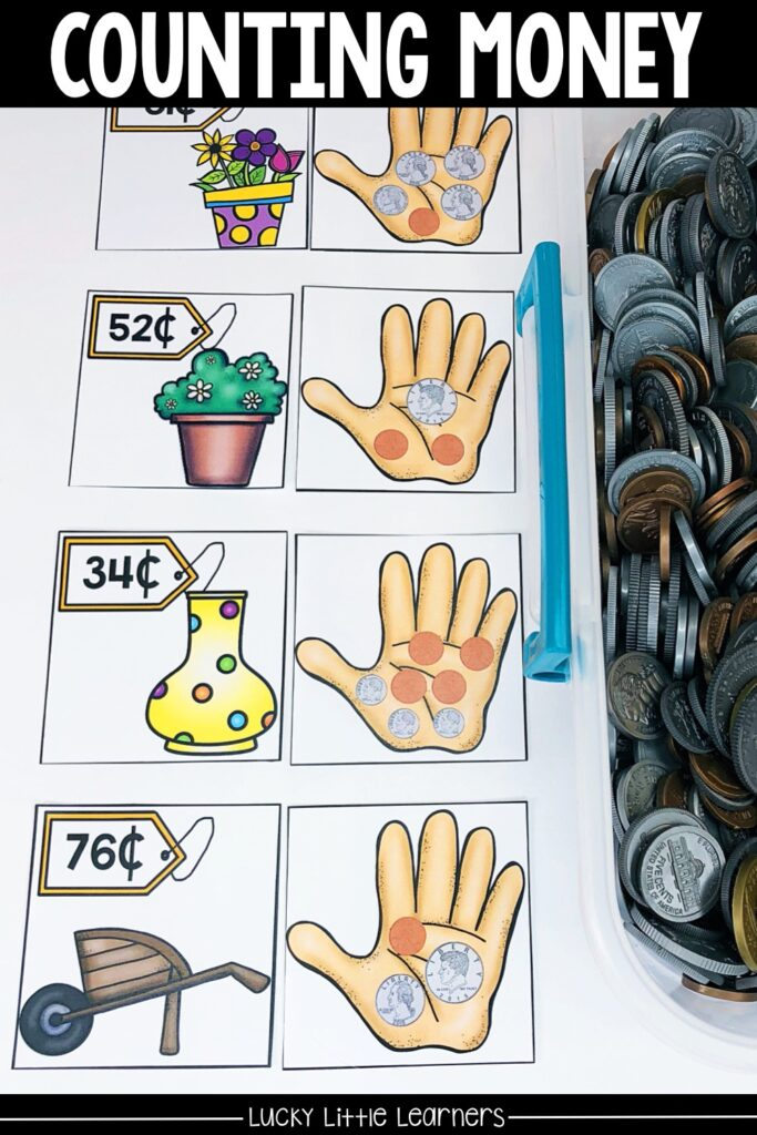 All that is needed for this activity would be the counting money matching card.  Sometimes students benefit from manipulating the coins to count so this is also an option.  In this activity, students choose a card with coins and add to find the total.  #2ndgrademath #mathcenters #countingcoins