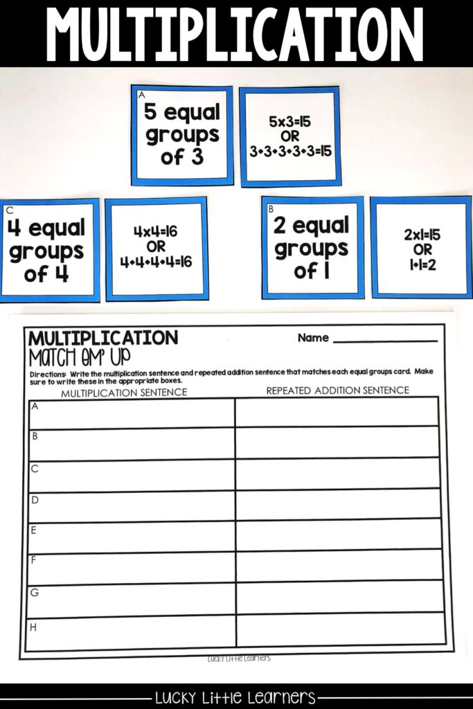 2nd grade is the first time that students are exposed to learning the basics of multiplication. This can be done through exposure to equal groups, repeated addition, arrays, and basic multiplication problems. Check out this multiplication center for your 2nd graders! #2ndgrademath #mathcenters #multiplication #arrays #repeatedaddition