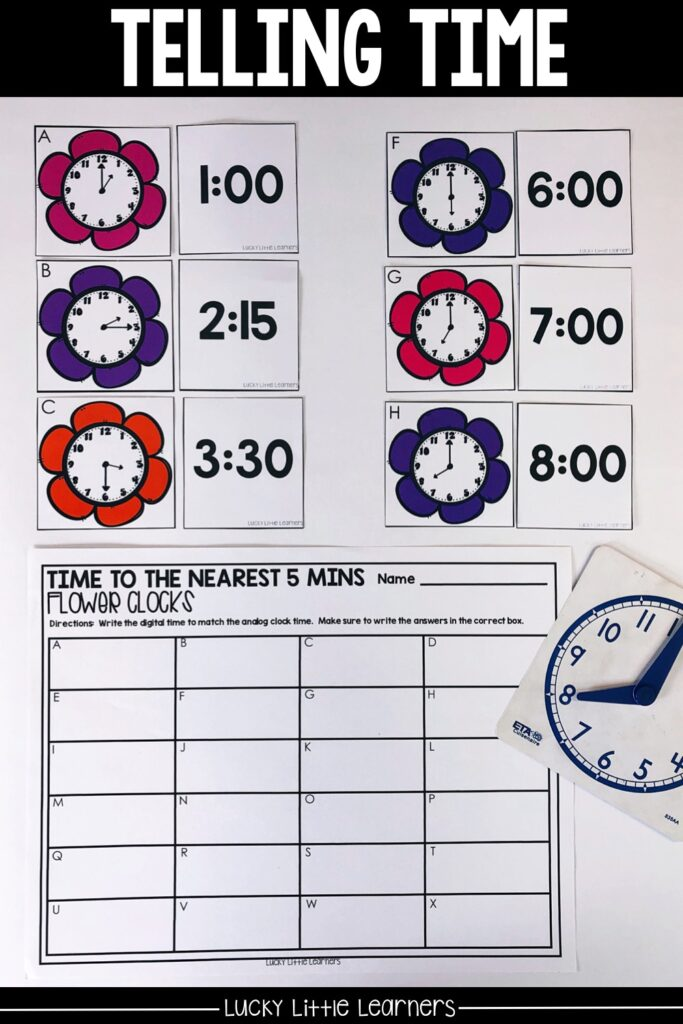 2nd graders are required to tell time to the nearest 5 minutes. This math center is a matching center. Students choose an analog clock card and determine the time on the clock. Then students find the matching digital time card. Answers get written on the recording sheet. #2ndgrademath #mathcenters #tellingtime