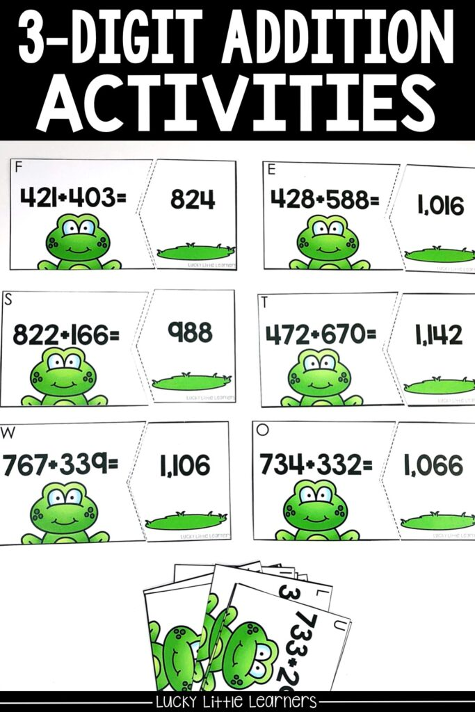 By the end of 2nd grade students should be able to add 3-digit numbers. These math puzzles are a huge hit! Students choose an addition card. Students can choose to use whatever strategies they know to solve these problems. #2ndgrademath #mathcenters