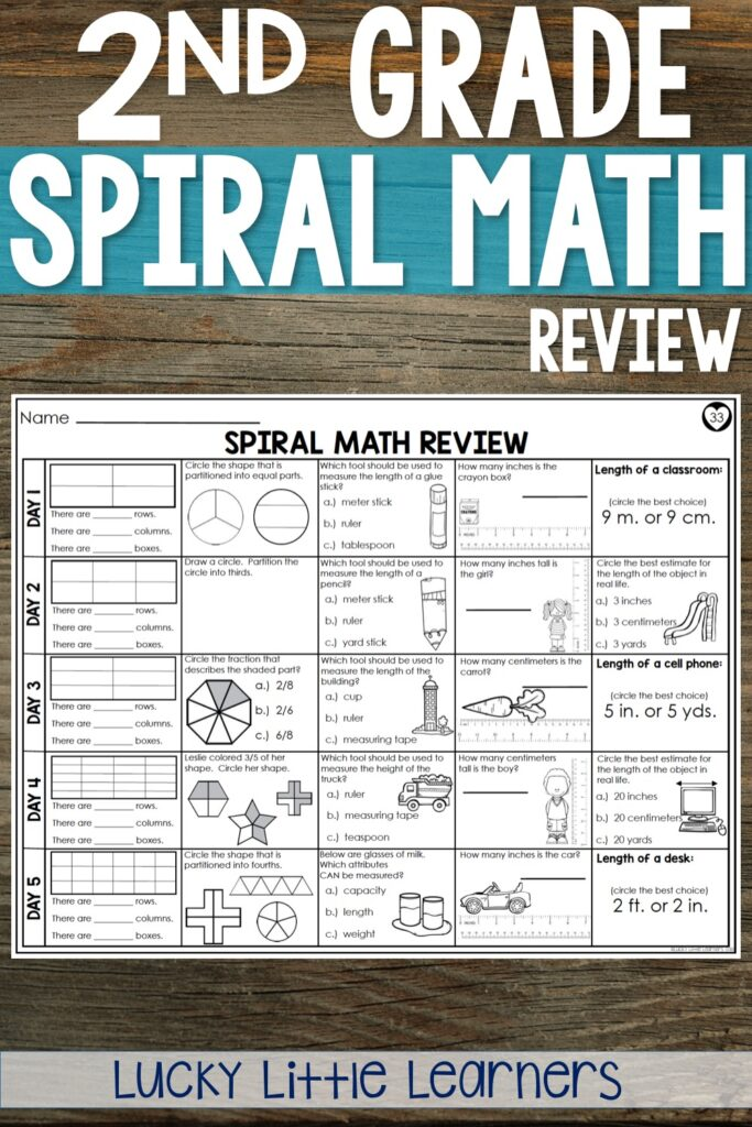 2nd grade spiral math morning work and homework for the entire year!  This resource includes 3 differentiated levels which is a nice no prep, easy to use option for all 2nd grade students!