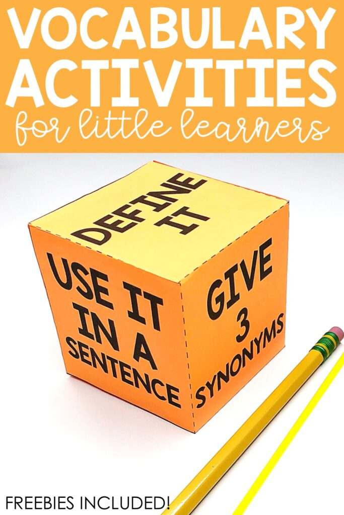 Vocabulary dice can be used with any list of vocabulary words.  Give each student a list or stack of vocabulary words.  Students can do this activity independently or with a partner.  Once a word is chosen, the student rolls the dice and follows the prompt on the dice.  Answers can be provided verbally or written on a piece of paper or marker board.