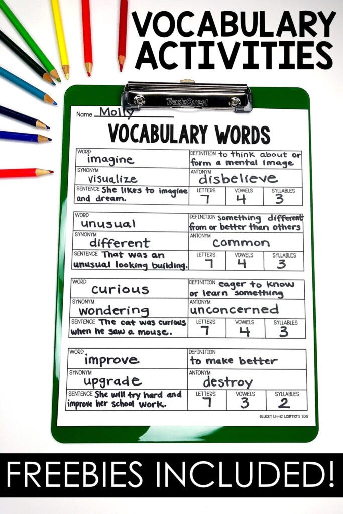 When the teacher is completing the vocabulary posters with the students, the students can complete the mini posters and put them in the vocabulary journals. This is a great option to keep the students engaged and actively participating.