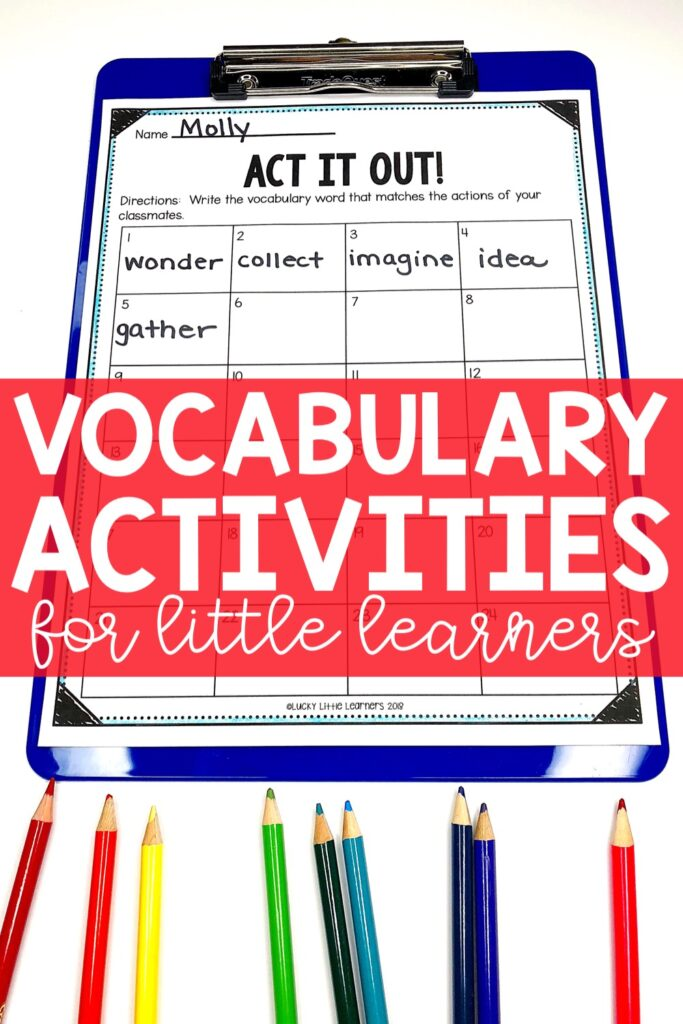Act it Out is similar to Picture This except instead of drawings, the students would use actions. The actions are performed as a group or one at a time in front of the class for the others to guess the vocabulary word and write it on the recording sheet.