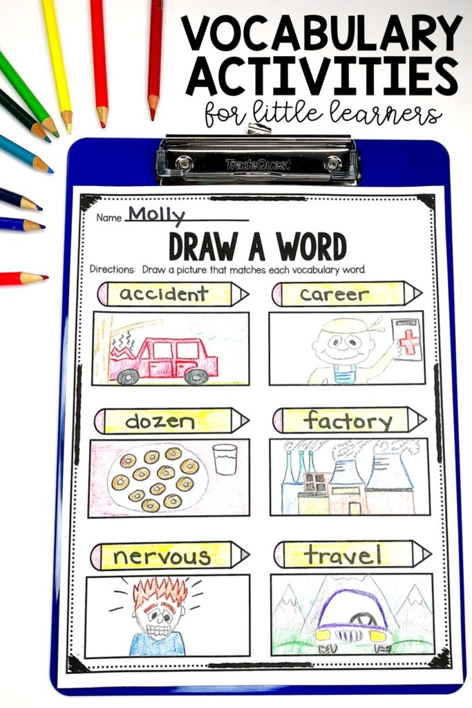 Drawing detailed pictures of a word's meaning is another powerful tool to help students learn, understand, and retain a new vocabulary word.  The teacher can choose the six words prior to making copies or the student can choose the six trickiest words.