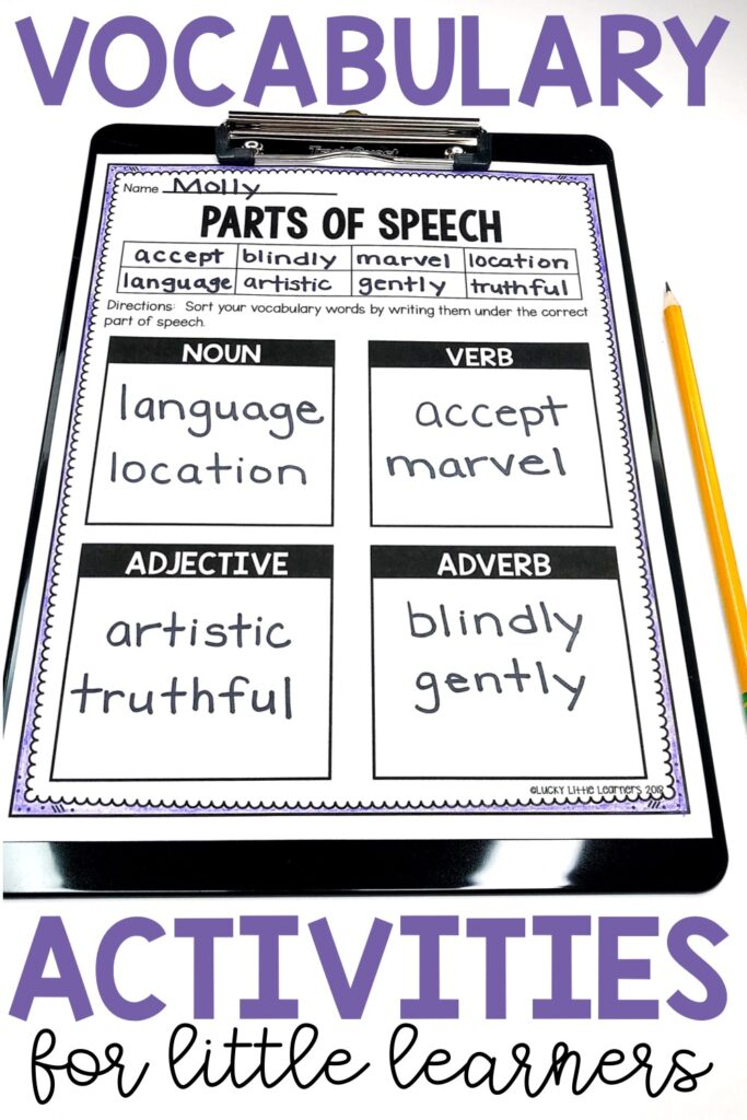 Nouns, verbs, adjectives, and adverbs are an important piece of students learning grammar so why not combine them with vocabulary word practice?  Students read the words at the top of their sheet  and then sort them into the proper grammar categories.  This worksheet is available in 8 words, 10 words, or 12 words templates.