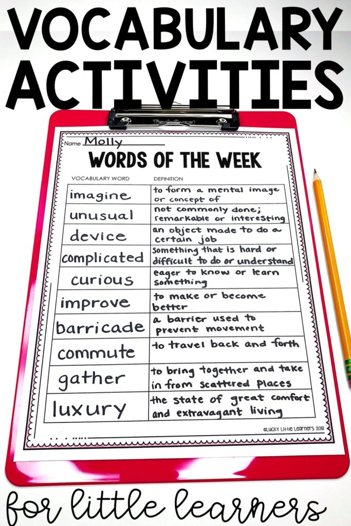 At the beginning of the week, we take two days to introduce all of our new vocabulary words for the week.  When the words are introduced the teacher shows the word and a picture to match the word.  The students take turns guessing what the word means{...}