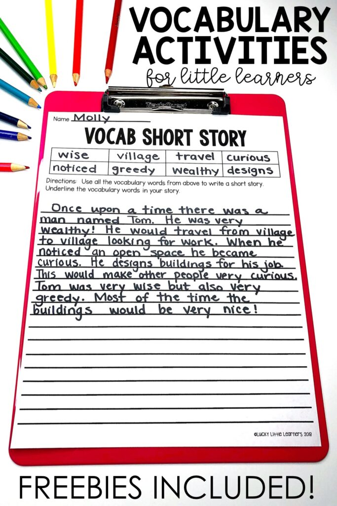 Writing stories is the ultimate determination of whether or not a student truly understands the meaning of his/her vocabulary words.  The teacher writes the vocabulary words that he/she would like the students to use when writing their short stories before making copies{...} #2ndgrade #3rdgrade #vocabularyactivities