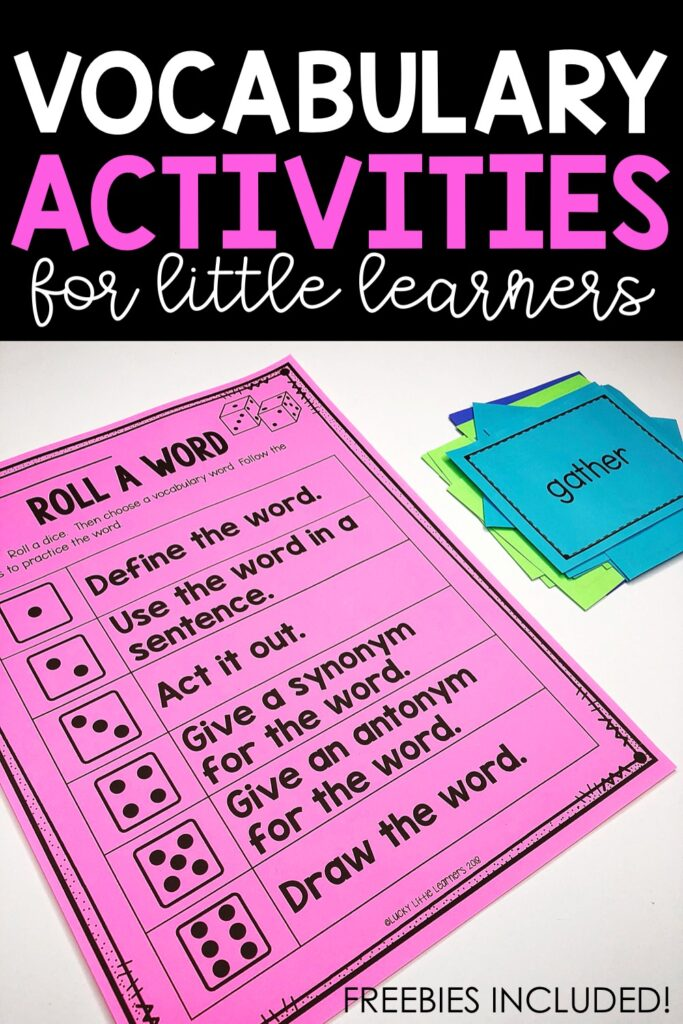 Students need a vocabulary word list or stack of word cards. This activity should be played with partners or small groups. Students take turns choosing a card/word. Then student rolls a dice and follows the prompt on the Roll a Word sheet. Other players determine if the answer is correct. Players take turns until the teacher decides that the time is up.