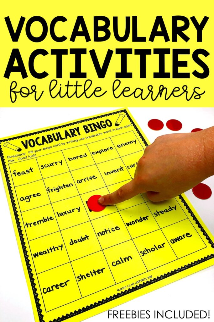 After the class has learned at least twenty-five different vocabulary words, bingo is a great option that students love to play that will provide a great opportunity to review. Students simply write a vocabulary word in each space of their bingo card. The teacher provides the definition of one of the words and the student finds the vocabulary word and covers it with a bingo chip. The first student to get 5 in a row, 4 corners, or black out wins the game.