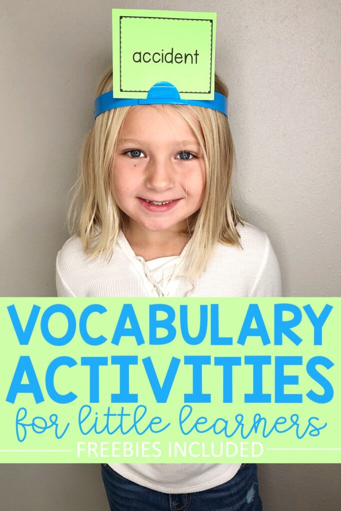 Vocabulary Headbandz is a fun game that students love.  Simply print off your vocabulary words onto these free editable vocabulary cards.  Each student attaches a vocabulary word card to their headband.  The youngest participant takes the first turn{...} #vocabularyactivities #vocabularygames