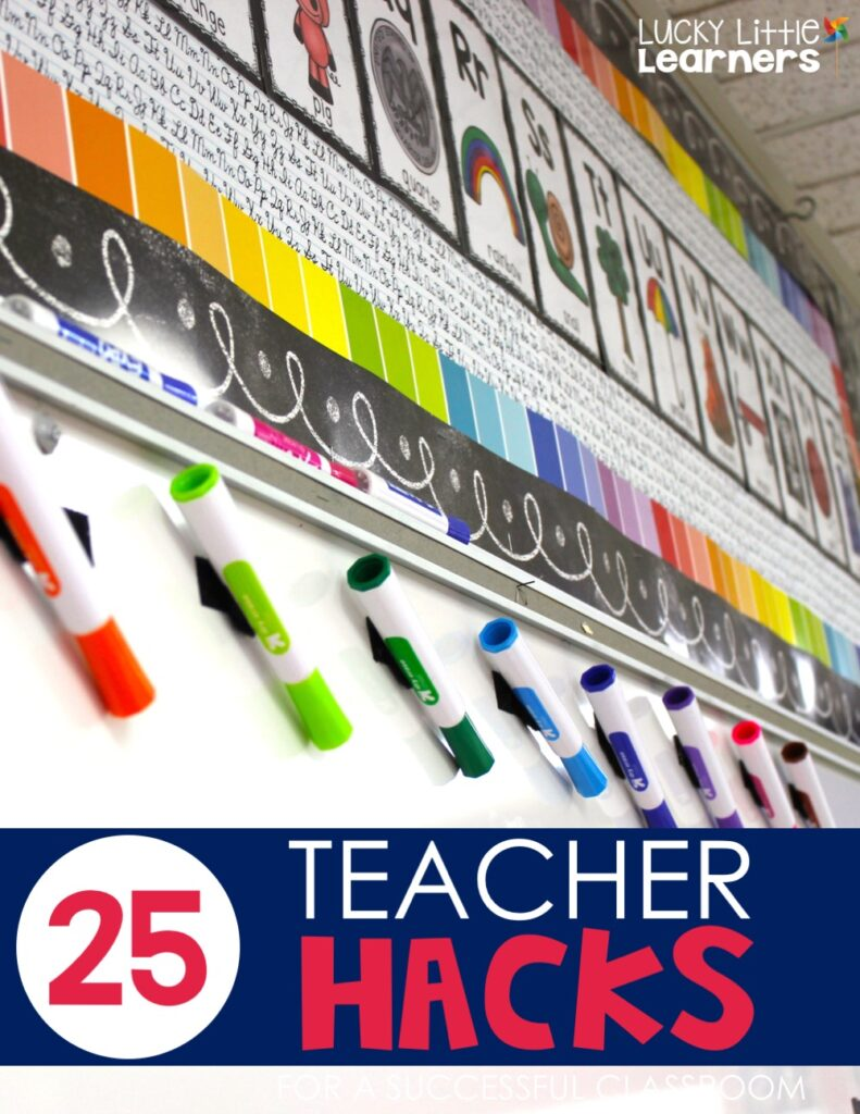 One teacher hack I'm sharing is very helpful. Velcro your Expo markers to the top of the board so the kids can't reach them and the tips point down to keep them fresh.