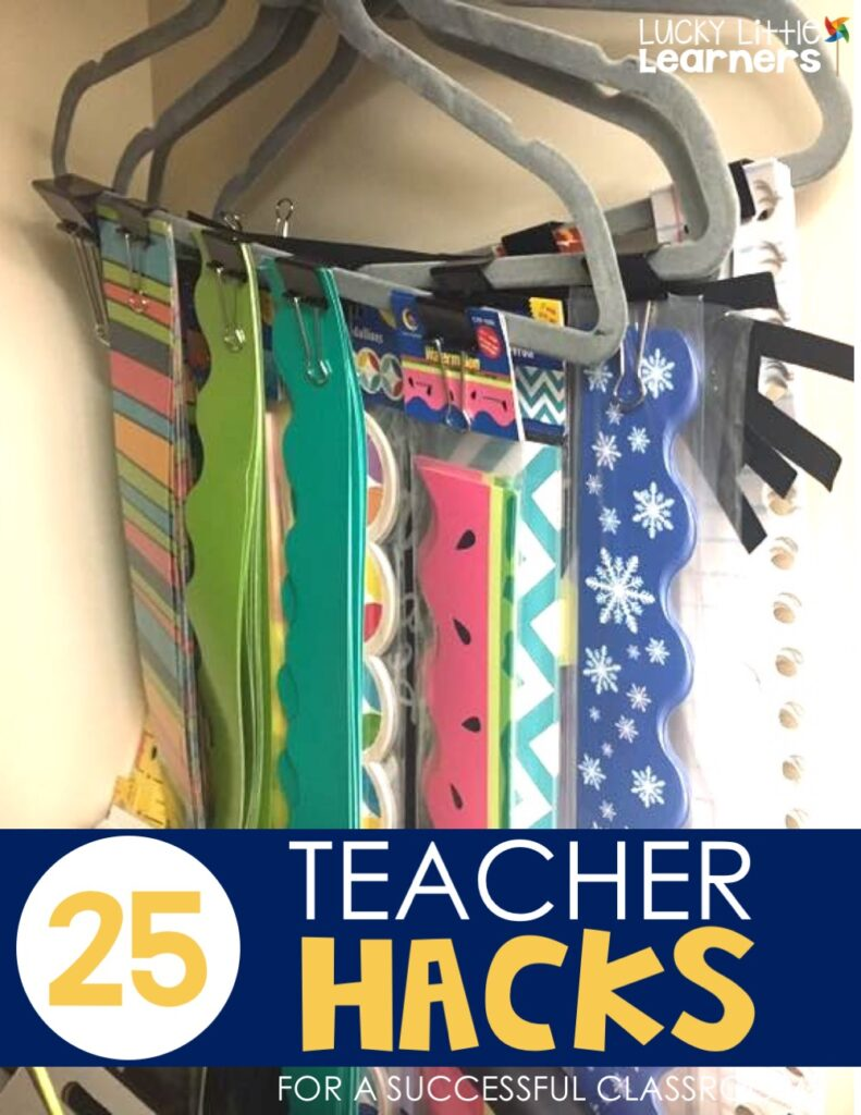 It is important to be organized when it comes to arranging the tools you use in your classroom esp. your bulletin board. One teacher shares she's using hangers and binder clips to store your bulletin board borders.  This is a great way to see exactly what you have and requires quick and easy storage.