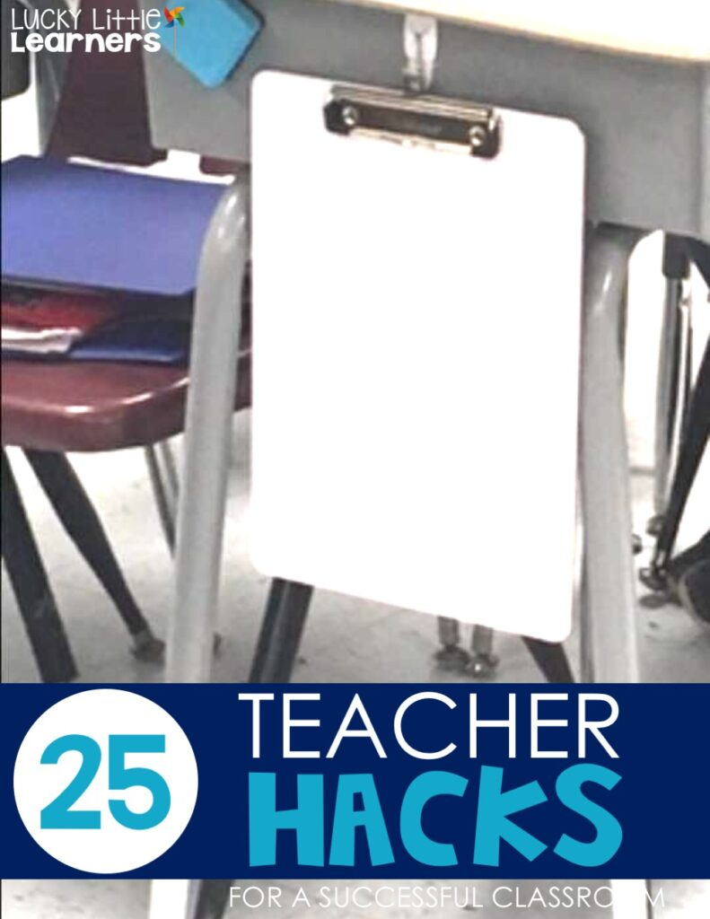 A 2nd grade teacher shares how dry erase clipboards and magnetic erasers have helped her save so much time! She hang them on the side of each desk with a command hook. This is a great teacher hack!
