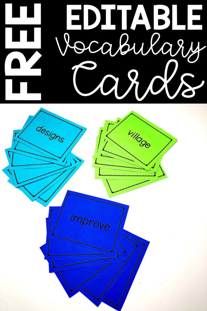Every week we put our new vocabulary words on cards.  These cards are used all week for a variety of games and activities.  At the end of the week, the students take the cards home to practice and keep.  Download a free copy of the editable vocabulary cards here.