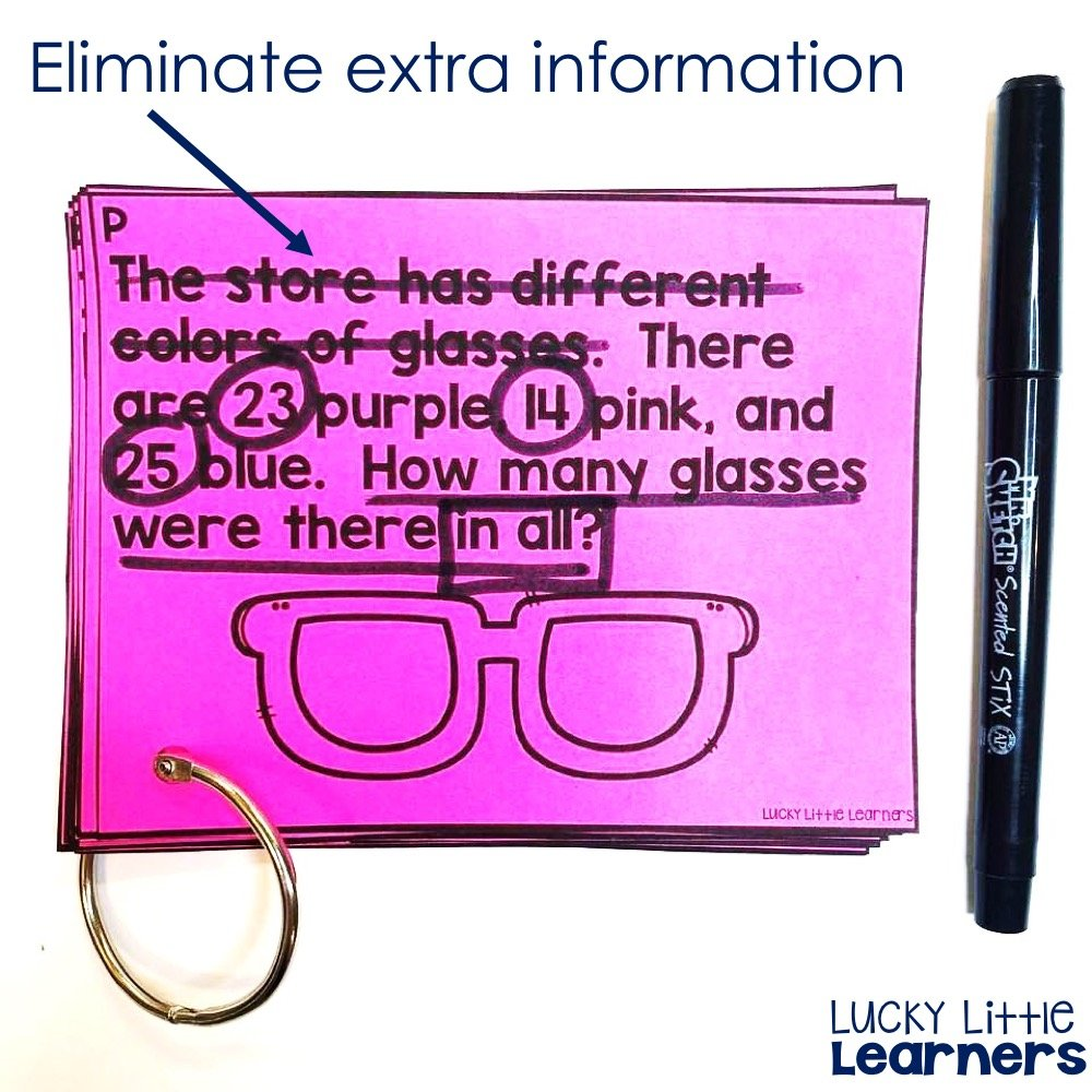E is for eliminate extra information. Read more about the CUBES math strategy and download a free student anchor chart.
