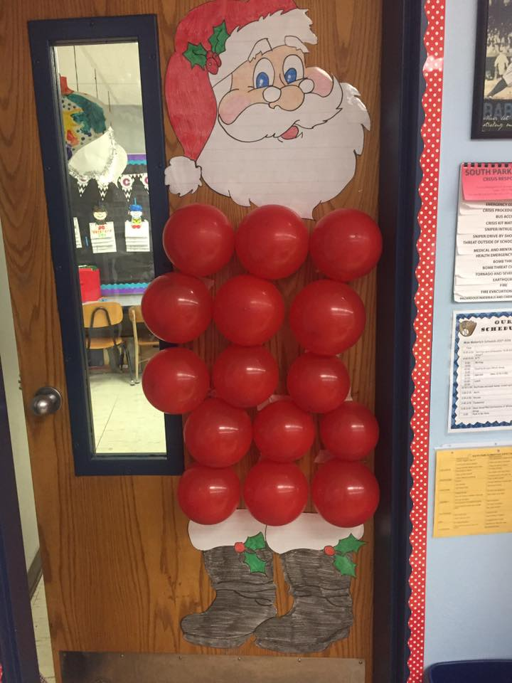Sometimes the hardest part of Christmas door decorations is figuring out the idea.  In this post you will find plenty of inspiration from Elf Selfies to Gingerbread Houses to Grinch Acts of Kindness to Elf on the Shelf (and more)! #Christmas #2ndgrade #1stgrade #doordecorations