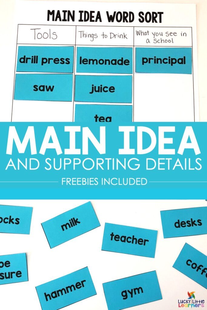 Teaching Main idea and details can be a very tricky concept for students to master.  Scaffolded instruction is the key.  Here are some main idea and details activities that will help your students learn this important skill.  #mainidea #2ndgrade #1stgrade